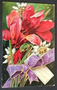 "Postcard Unused but w/writing on back ""A Happy Birthday"" Flowers LB"