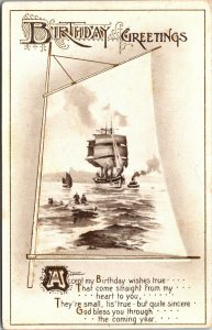 BIRTHDAY GREETINGS - BOAT SHIP - WATER - NATURE SCENE - VINTAGE POSTCARD