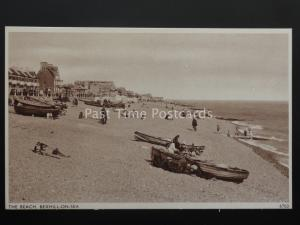 East Sussex BEXHILL ON SEA The Beach Old Postcard by E A Sweetman 6703