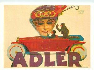 Postcard Advertising Adler car draw art paint drivers race woman august hajduk