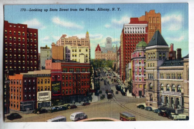 P1006 old state street from plaza old cars buses trollies etc albany new york