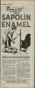 1927 Sapolin Enamel Makerooms Look Larger Women Painting Vintage Print Ad 3926