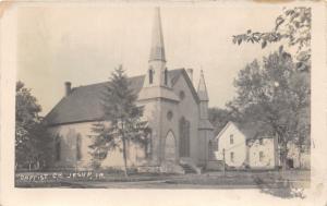 Jesup Iowa~Baptist Church~House Nextdoor~Vintage Lamppost~Note on Back~1911 RPPC