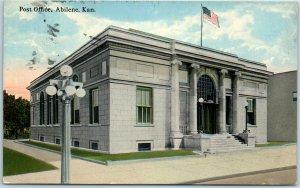 Abilene, Kansas Postcard U.S. Post Office Building / Street View - 1915 Cancel