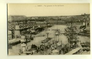 ft1146 - Warship in the Military Port of Brest , France - postcard