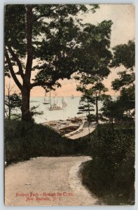 New Rochelle New York~Hudson Park~Sail Boats Thru the Trees~1910 Handcolored