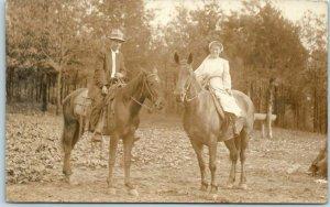 Vintage RPPC Real Photo Postcard Boy & Girl Horseback Riding / Horses c1910s