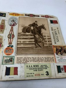 Amazing scrapbook 1900-1930 news horses ephemera photos family war ID: Greene MA