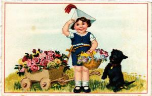 CPA Souvenir, little girl with flowers and highland terrier DOGS (727520)