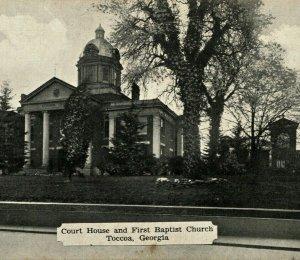 Toccoa Georgia GA Court House and First Baptist Church Vtg Dexter Press Postcard