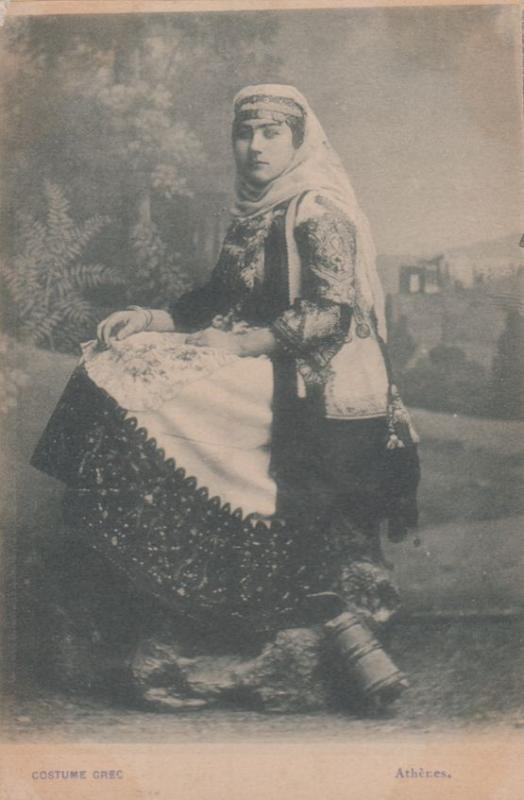 Athens Ladies Fashion Traditional Greek Costume Antique Postcard