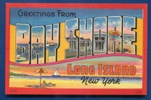 Bay Shore Long Island LI New york ny large letter letters linen postcard