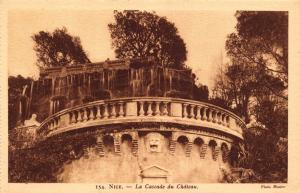 Vintage Sepia Postcard NICE The Castle Waterfall FRANCE by Munier No. 154