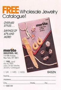 Jewelry Advertising Old Vintage Antique Post Card Merlite Industries, Inc Unused