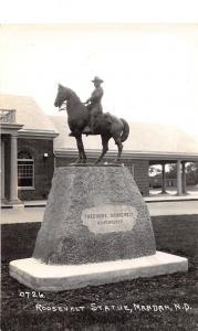 E36/ Mandan North Dakota ND Real Photo RPPC Postcard c40s Roosevelt Statue