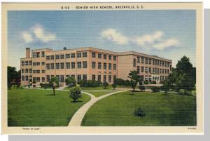 Nice Greenville, SC Postcard,Senior High School, Near Mint!