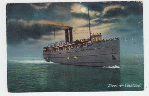 P2022 old postcard the passenger steamer eastland on the way used