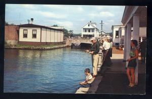 Wolfeboro, New Hampshire/NH Postcard, Fishing Scene Along Dock