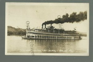 Alma WISCONSIN RP c1920 STEAMBOAT CAPITOL Mississippi River nr Wabasha Winona MN