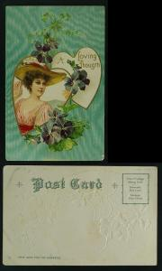 Valentine lady with violets - lower corner faults