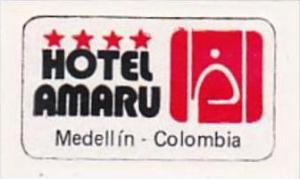 COLOMBIA MEDELLIN HOEL AMARU VINTAGE LUGGAGE LABEL