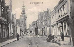 Monnikendam Netherlands Kerkstraat Street Scene Antique Postcard J38858