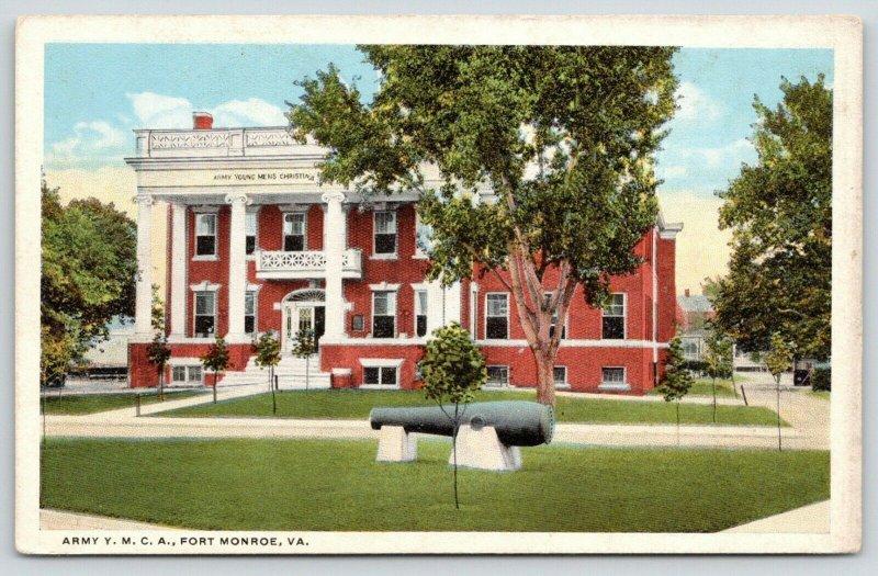 Fort Monroe Virginia~Army YMCA~Cannon on Lawn~1916 WWI Postcard