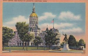 Connecticut Hartford State Capitol and Statue Of Lafayette