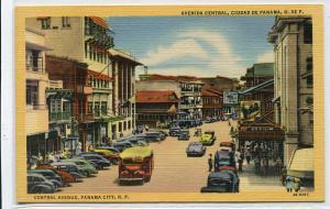 Avenida Central Panama City Panama linen postcard