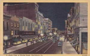 Night View Of Market Street Harrisburg Pennsylvania