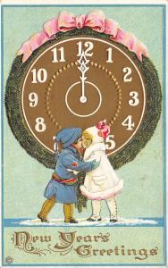 New Year~Victorian Children Kiss Under Huge Midnight Clock~Gold Emboss~SLC 203d