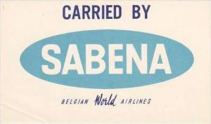 SABENA BELGIAN WORLD AIRLINES VINTAGE LUGGAGE LABEL