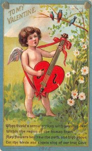 TO MY VALENTINE Cupid & Heart-Shaped Instrument Valentine's Day Postcard 1915