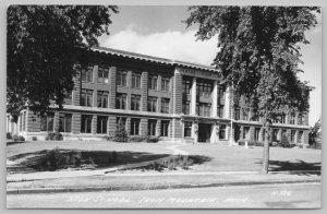 Iron Mountain Michigan~Sprawling High School~Thick Trees~Flag Pole RPPC 1940s