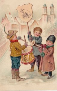 Children playing instruments in the snow, PFB 5459