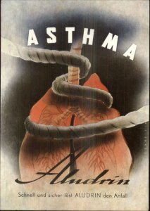Medical Art Lungs in Rope ASTHMA ALUDRIN Medicine Drug Advertising Postcard
