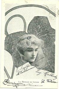 Art Nouveau ; XAVIER SAGER ; Woman & Leaf Combo; PU-1903 ; De Lierre
