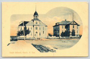 Cando North Dakota~Two Schools Side by Side~Keyhole Vignette~1909 Handcolored PC