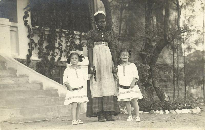 Two Young Girls with Black Americana Nanny or Maid (1910s) RPPC Postcard