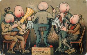 Comic music band butt heads caricatures our prize band orchestra 1900s humour