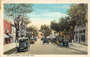 G20/ Lake View Indian Lake Ohio Postcard c1920s Lake Street Garage Hotel