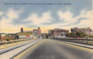 Ft Smith Arkansas~Skyline From Bridge~John Schaff & Sons~Water Tower~1940s PC