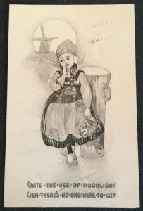 "Vintage Postcard Used Dutch Girl ""Vats-Ven..."" LB"