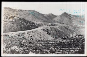 California IMPERIAL COUNTY New Grade in In-Ko-Pah Gorge on Highway 80 - RPPC
