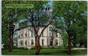 Coshocton, Ohio Postcard County Court House Building View KROP Linen c1940s