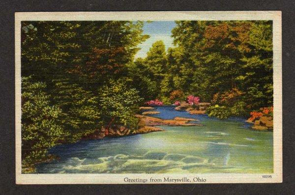 OH Greetings from MARYSVILLE OHIO Postcard Linen PC