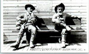 1940s KNOTT'S BERRY FARM California RPPC Photo Postcard Ghost Town Bench Scene