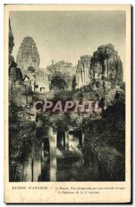 Old Postcard Ruins D & # 39Angkor The Boyon View Sinking On a small courtyard...