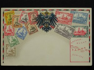 SAMOA Philately STAMPS, MAP & HERALDIC ARMS c1910 Embossed Postcard