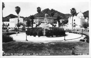 Ajo Arizona 1950s Park to School View Autos RPPC Real Photo postcard 9358